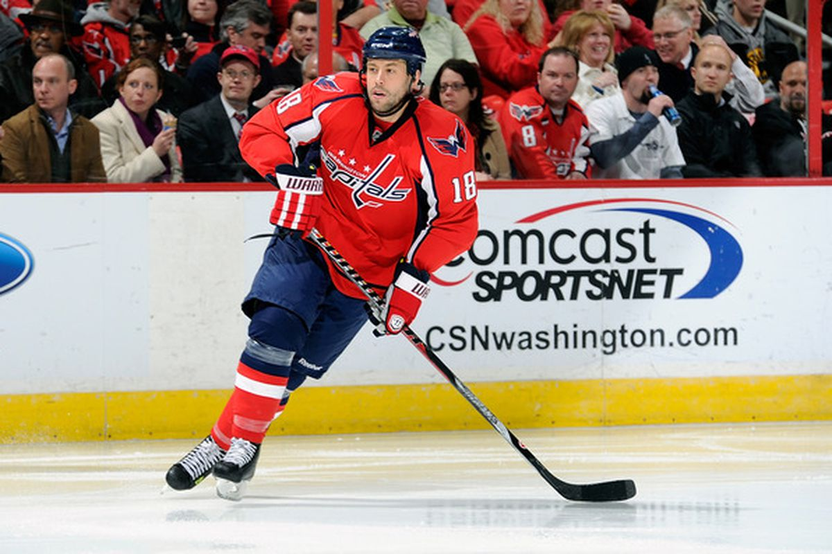 WASHINGTON, DC - MARCH 01:  Marco Sturm #18 of the Washington Capitals skates down the ice against the New York Islanders at the Verizon Center on March 1, 2011 in Washington, DC.  (Photo by Greg Fiume/Getty Images)