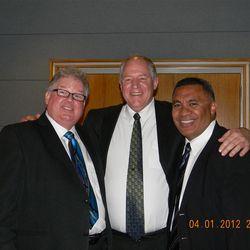 Daniel Pray, Bob Dull and Vai Sikahema.  Pray and Sikahema taught and baptized Dull 29 years ago in South Dakota.