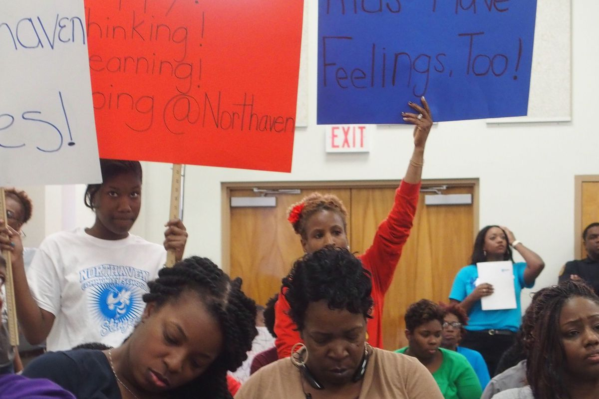 Students protest a plan to close some schools and transfer students from others within Shelby County Schools.
