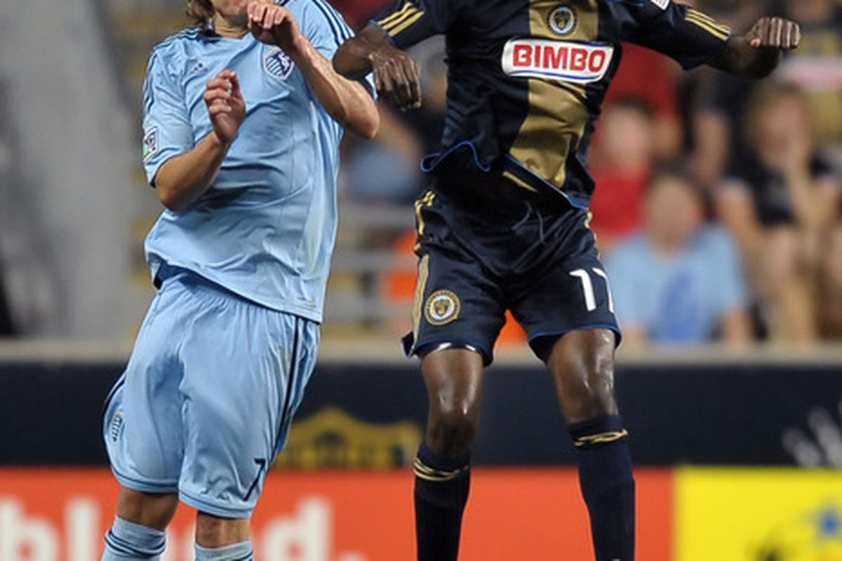 CHESTER, PA - JUNE 22: Keon Daniel #17 of the Philadelphia Union heads the ball in front of Chance Myers #7 of Sporting Kansas City at PPL Park on June 22, 2011 in Chester, Pennsylvania. The game ended 0-0. (Photo by Drew Hallowell/Getty Images)