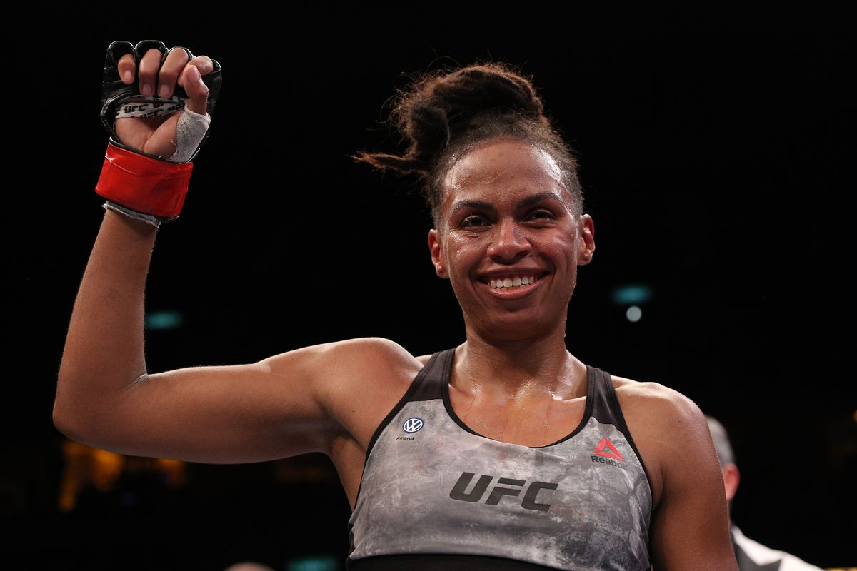 Luana Carolina of Brazil reacts after the conclusion of her women's flyweight bout \against Priscila Cachoeira of Brazil during the UFC 237 event at Jeunesse Arena on May 11, 2019 in Rio De Janeiro, Brazil.