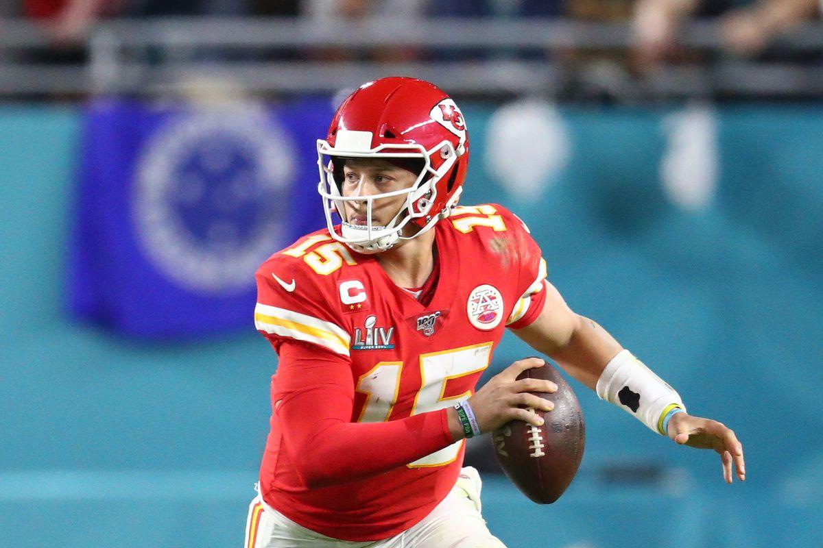 Kansas City Chiefs quarterback Patrick Mahomes  against the San Francisco 49ers in Super Bowl LIV at Hard Rock Stadium.
