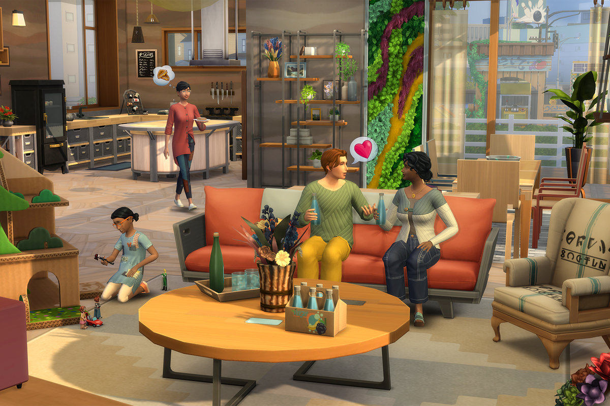 The Sims 4: Eco Lifestyle - two Sims sit on a couch and talk about love