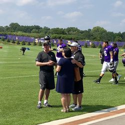 Mike Zimmer with Tony Sparano Jr. - who's TE coach for the Jags - and perhaps Tony's widow.