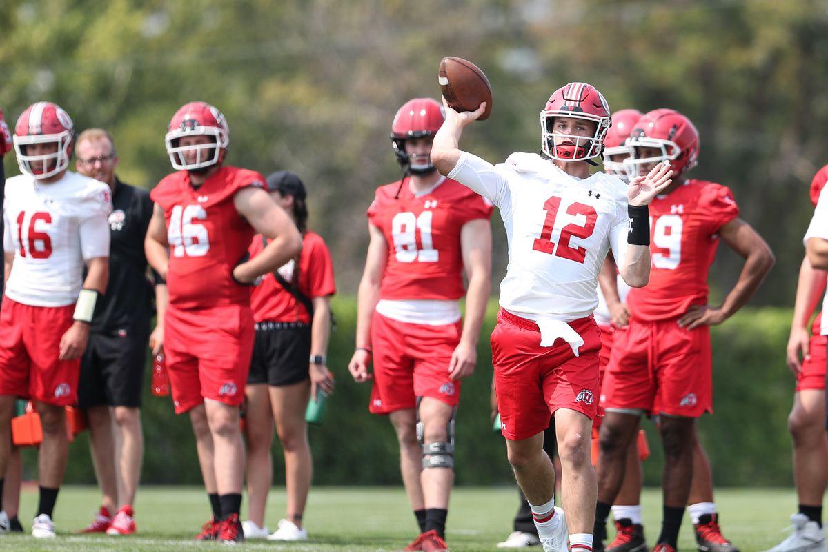Utah quarterback Charlie Brewer prepares to throw during fall camp at the University of Utah in Salt Lake City.