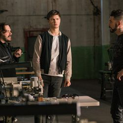 """Director Edgar Wright, Ansel Elgort and Jon Bernthal on the set of """"Baby Driver."""""""