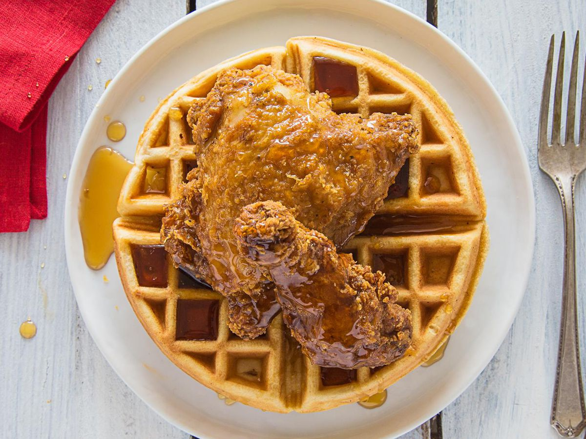 Fried chicken and waffles at Auntie April's