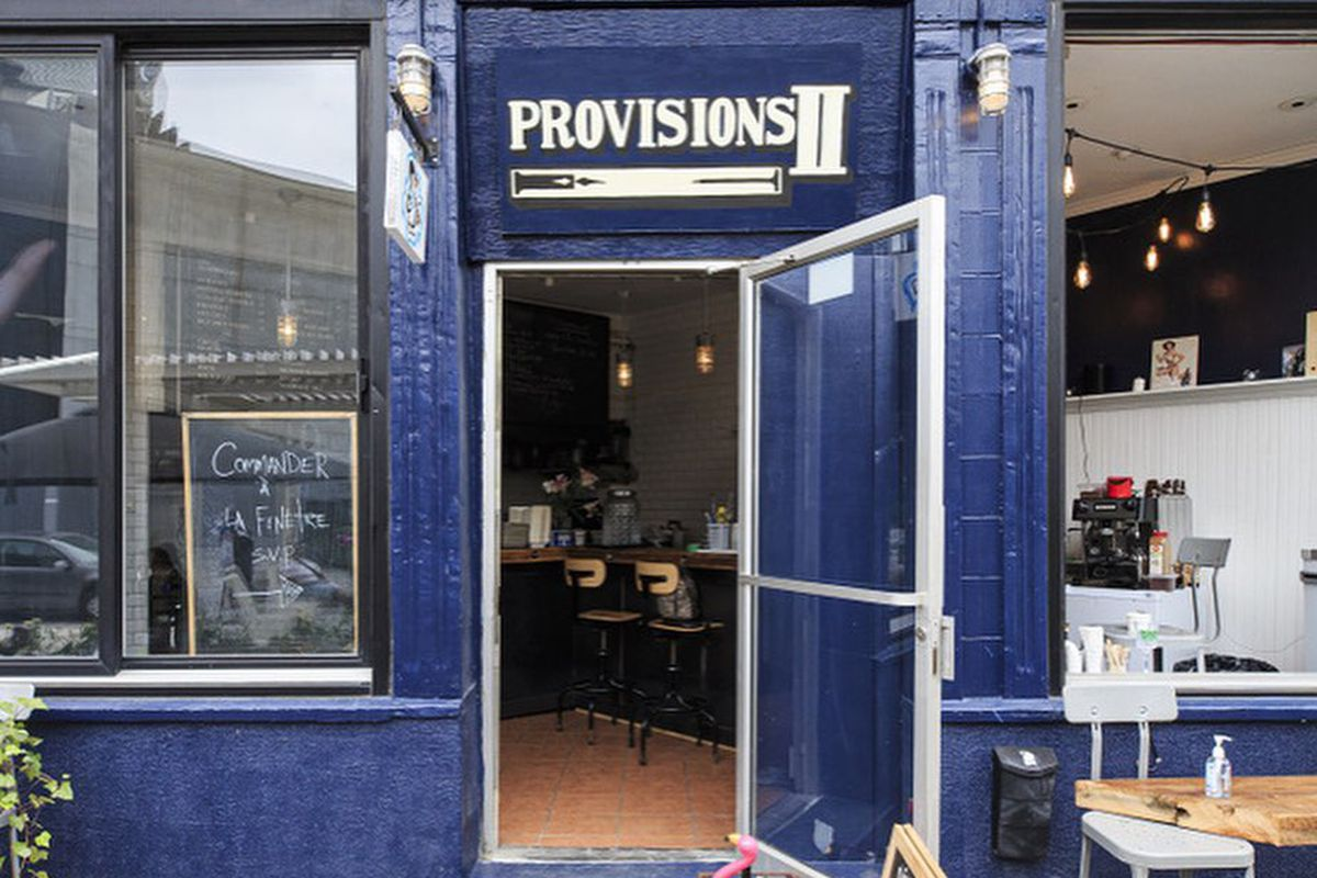 blue storefront with name provisions