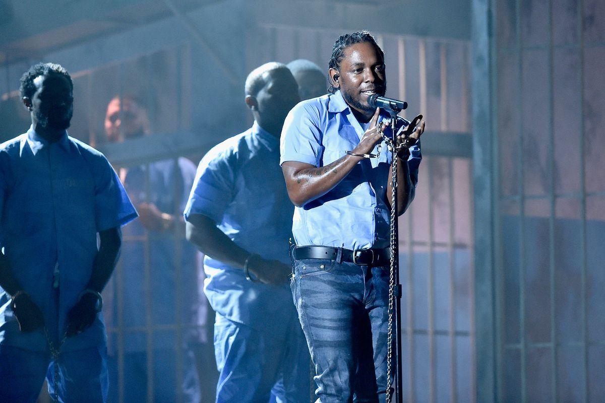 Kendrick Lamar performs during the 2016 Grammys.