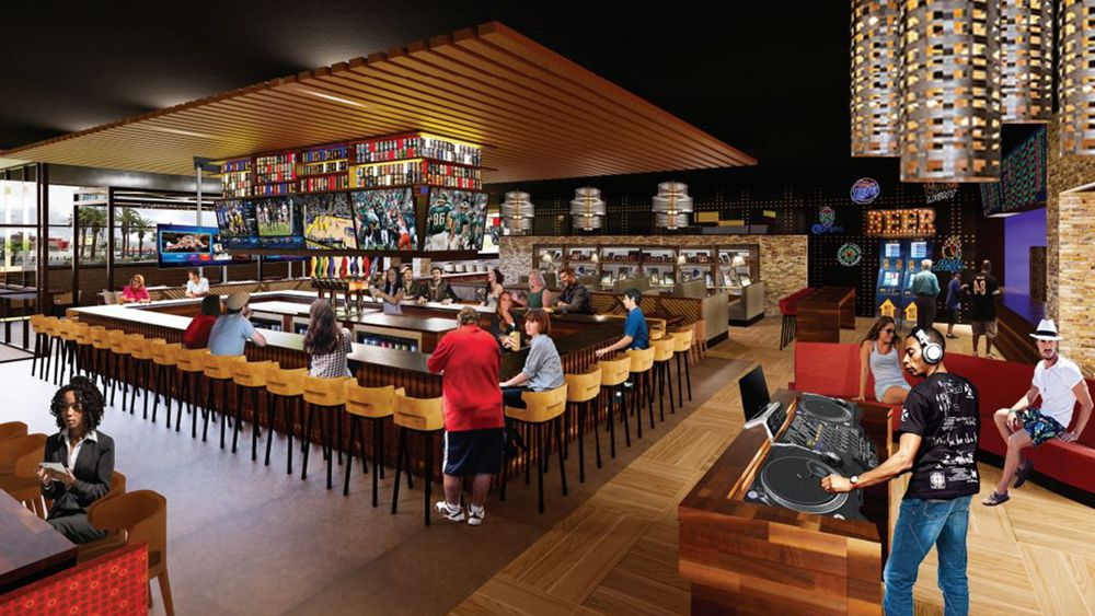 Interior rendering of the future Chickie's & Pete's crab house and sports bar headed to the Sahara Las Vegas.