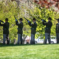 Members of the Utah Highway Patrol conduct a three-round volley during the annual Utah Police Memorial Service at the Capitol in Salt Lake City on Thursday, May 6, 2021. During the service, police officers, family, friends and community leaders honored the 147 Utah police officers killed in the line of duty.