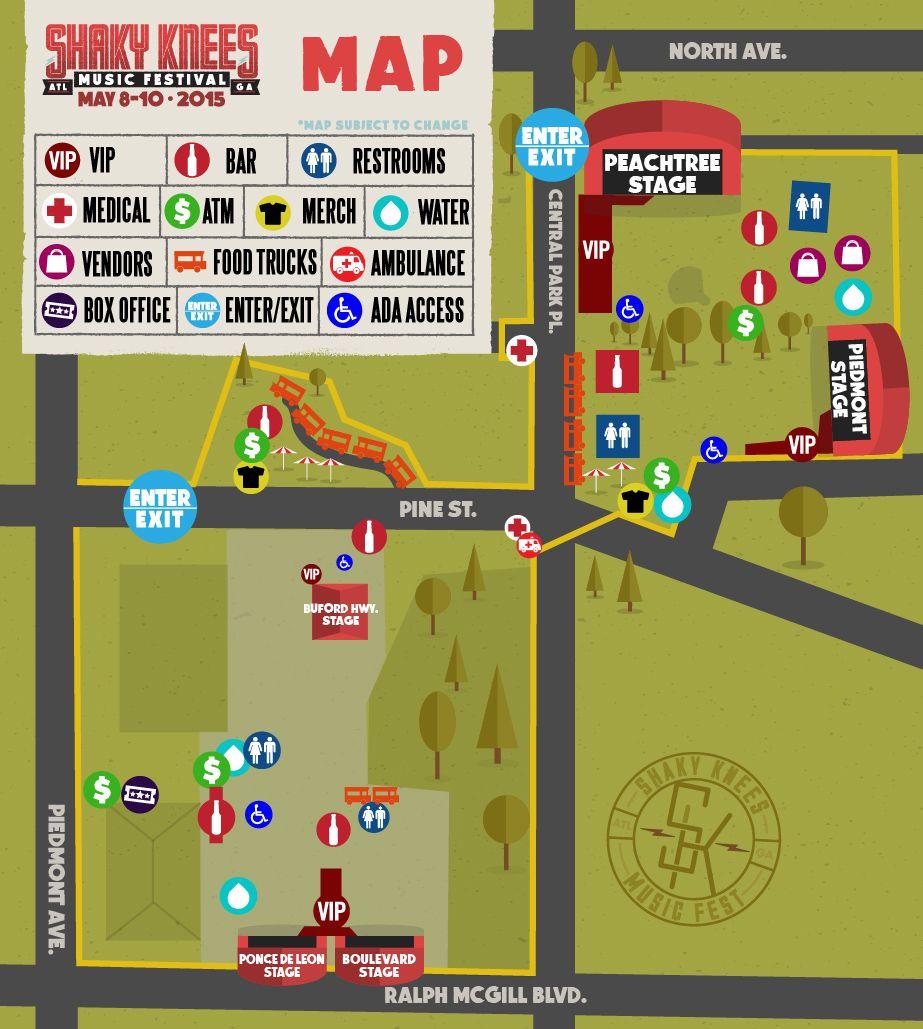 Shaky Knees Music Festival map