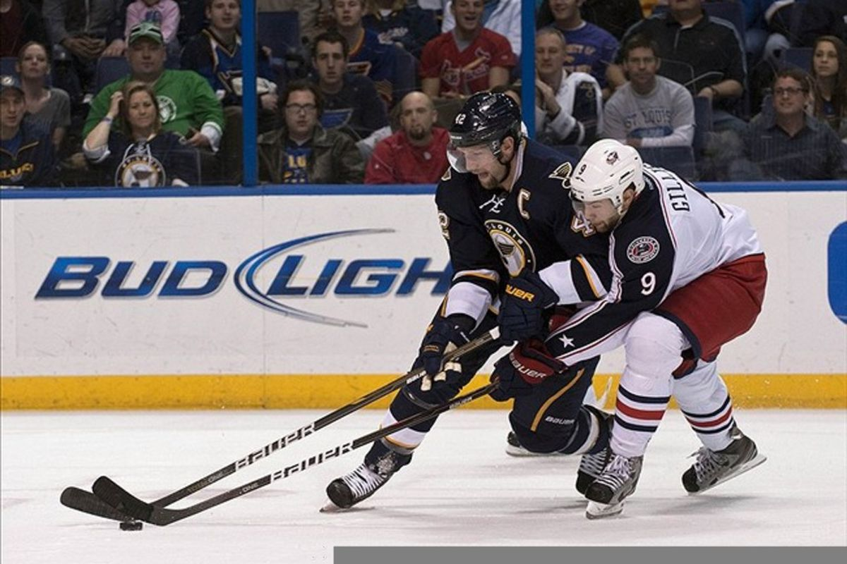 Mar 10, 2012; St. Louis, MO, USA; St. Louis Blues center David Backes (42) and Columbus Blue Jackets left wing Colton Gillies (9) battle for the puck during the first period at the Scottrade Center. Mandatory Credit: Ed Szczepanski-US PRESSWIRE