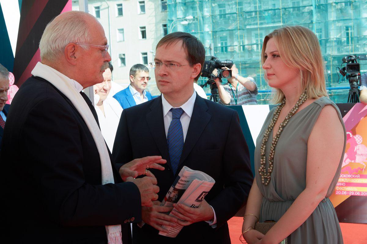 Vladimir Medinsky, center