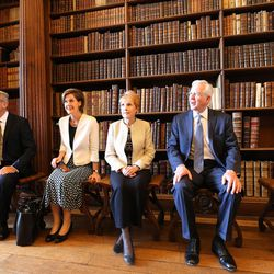 Elder D. Todd Christofferson, of the Quorum of the Twelve Apostles of The Church of Jesus Christ of Latter-day Saints, and his wife, Sister Katherine Christofferson, and Elder Patrick Kearon and his wife, Sister Jennifer Kearon, try vintage chairs as they tour the Upper Library at Christ Church, Oxford University, in Oxford, England, on Thursday, June 15, 2017.