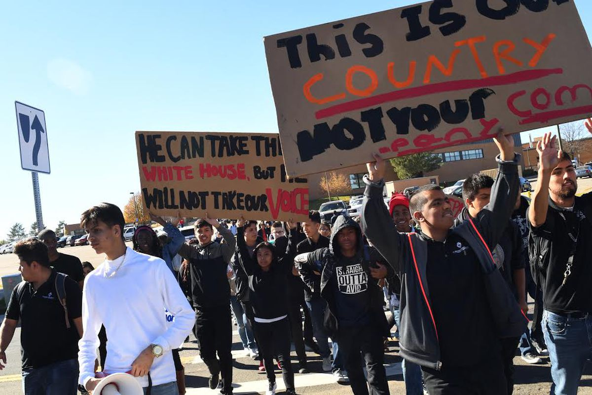 Students from Martin Luther Early College in Denver walked out of classes Wednesday to protest Trump's win (RJ Sangosti, The Denver Post).