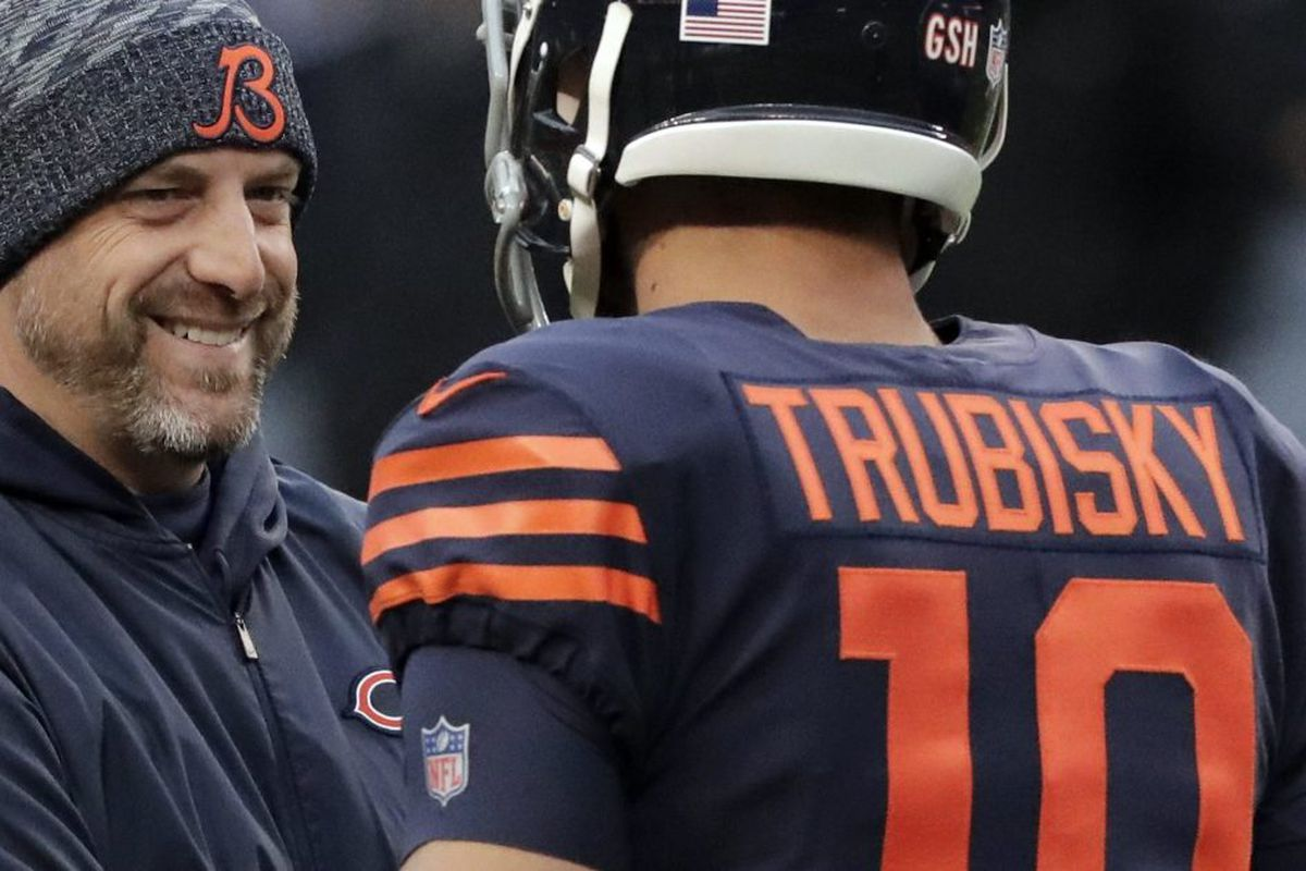 2ba5c6b544e Bears head coach Matt Nagy talks to quarterback Mitchell Trubisky before  the Jets game. | Nam Y. Huh/AP photo