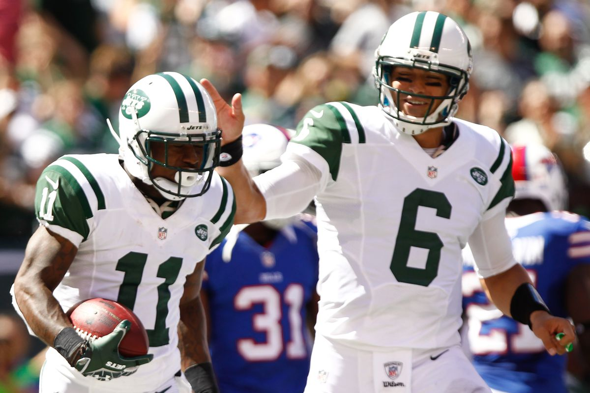 Mark Sanchez and the New York Jets had plenty to smile about on Sunday. Debby Wong-US PRESSWIRE