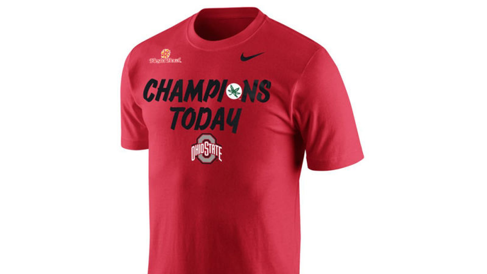 8e742fccd71 Ohio State s Fiesta Bowl shirts make fun of Notre Dame s  Play Like a  Champion Today  plaque - Land-Grant Holy Land