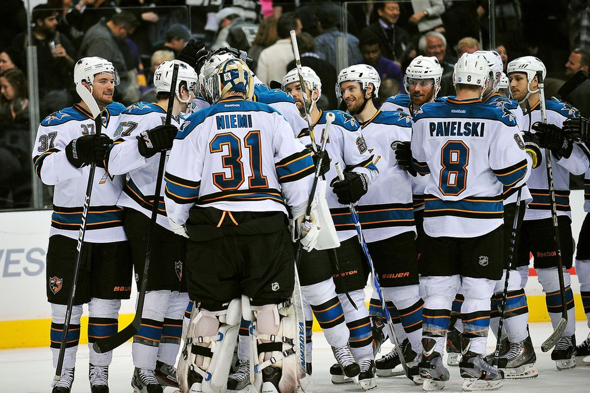 April 5, 2012; Los Angeles, CA, USA; San Jose Sharks celebrate their 6-5 victory against the Los Angeles Kings after the shootout period at Staples Center. Mandatory Credit: Gary A. Vasquez-US PRESSWIRE