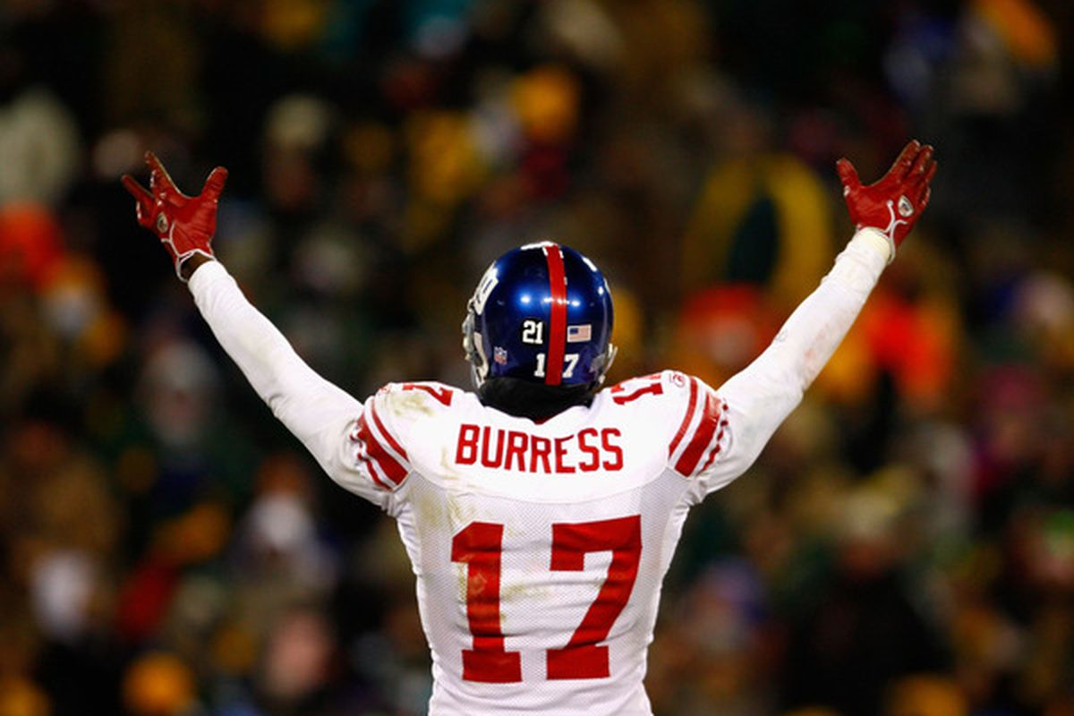 GREEN BAY, WI - FILE: Wide receiver Plaxico Burress #17 of the New York Giants reacts to the crowd during the NFC championship game against the Green Bay Packers at Lambeau Field in Green Bay, Wisconsin.(Photo by Jamie Squire/Getty Images)