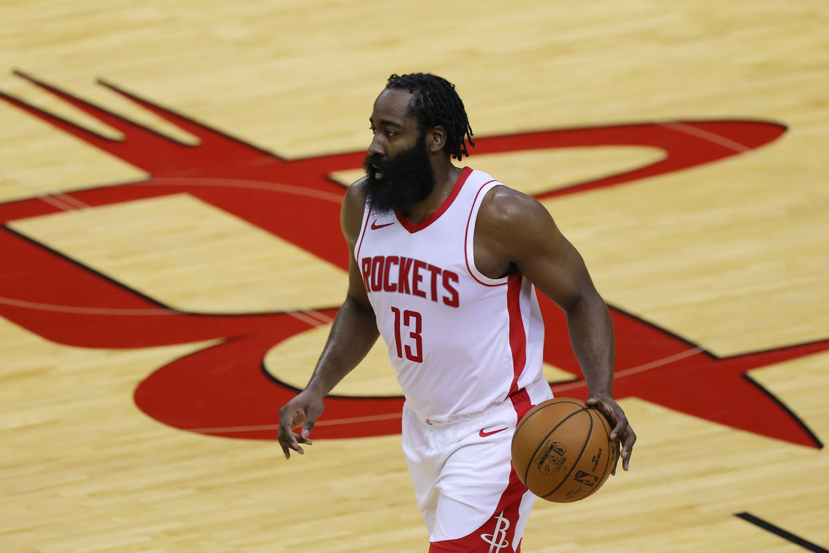 James Harden #13 of the Houston Rockets controls the ball during the second quarter of a game against the San Antonio Spurs at the Toyota Center on December 17, 2020 in Houston, Texas.