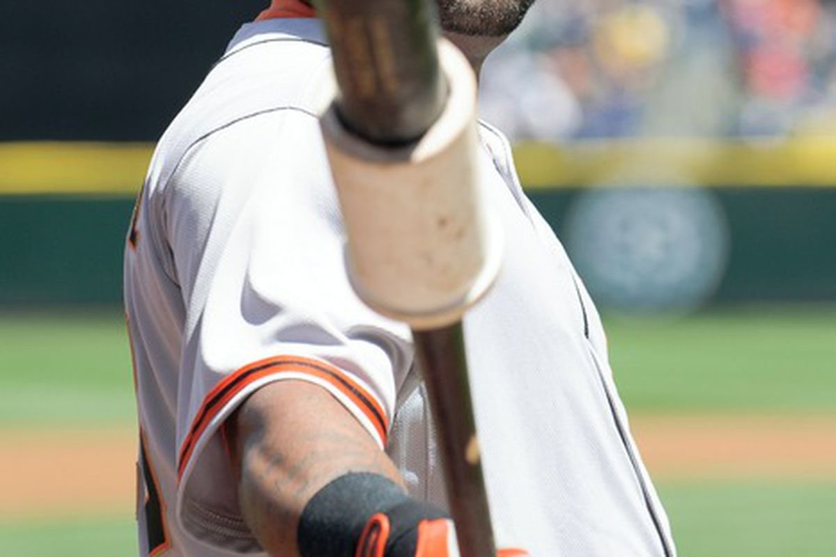 June 17, 2012; Seattle, WA, USA; San Francisco Giants third baseman Pablo Sandoval (48) warms up on deck during the 1st inning against the Seattle Mariners at Safeco Field. Mandatory Credit: Steven Bisig-US PRESSWIRE