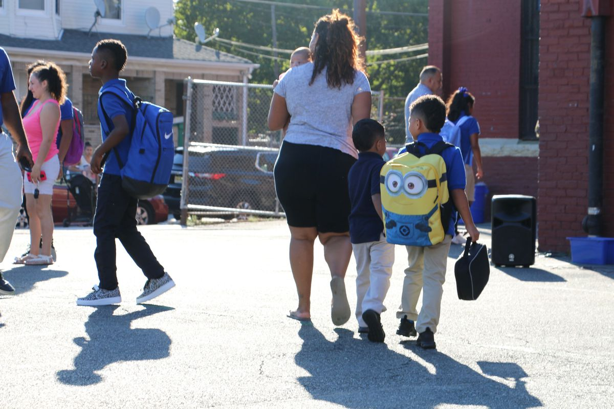 Newark students arriving at a district school on the first day of class.