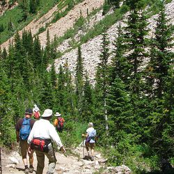 14. After visiting Red Pine Lake, hikers make their way down the trail.