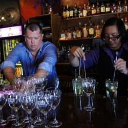 James Moore and Jonny Yumol at Bar TBA Wine Cocktails Seminar.