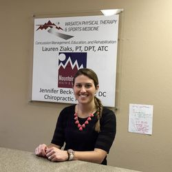Lauren Ziaks sits at the counter of her new concussion clinic at Kimball Junction in Park City.