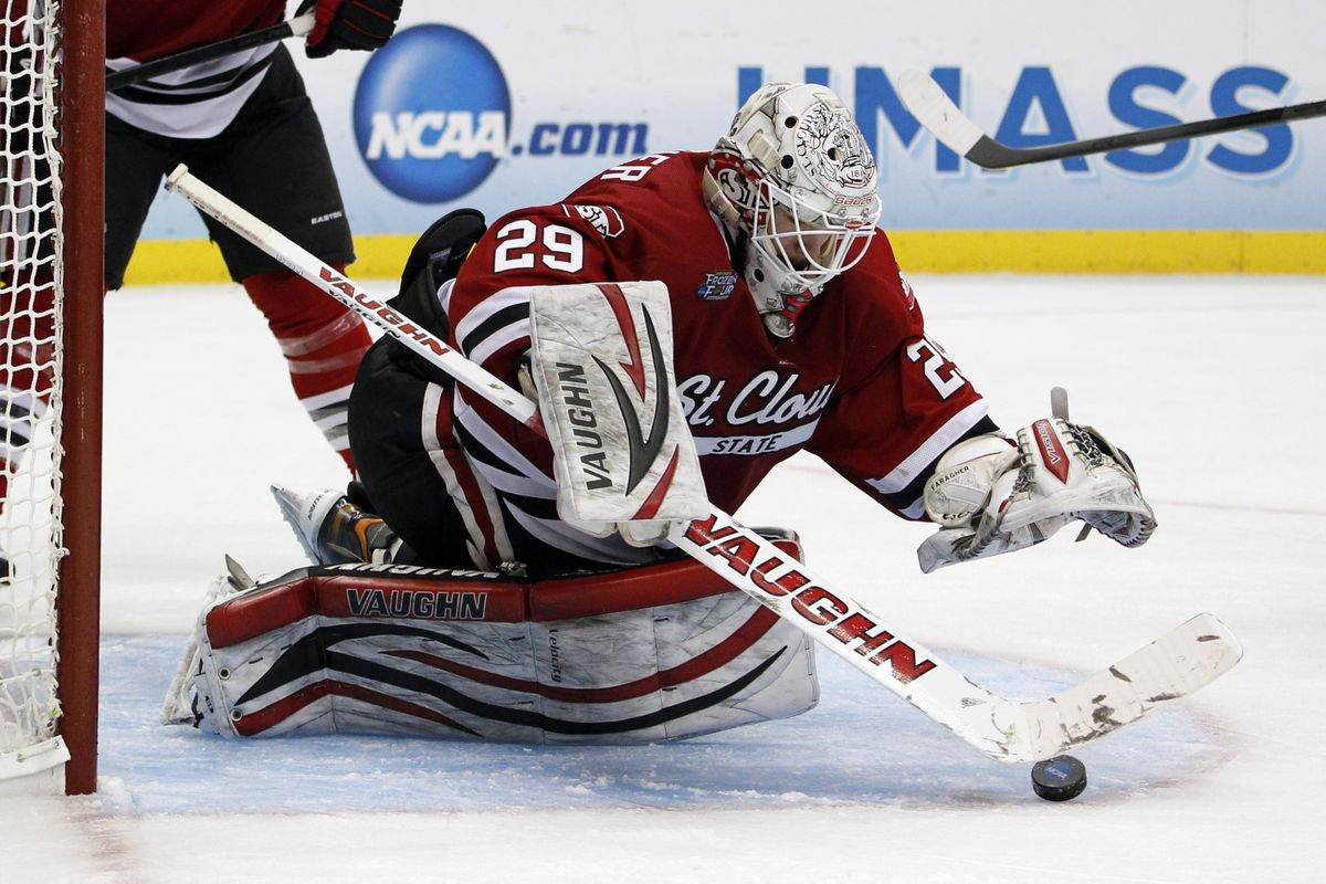 Ryan Faragher and St. Cloud salvaged the only win for an NCHC team against the ECAC on Friday night.