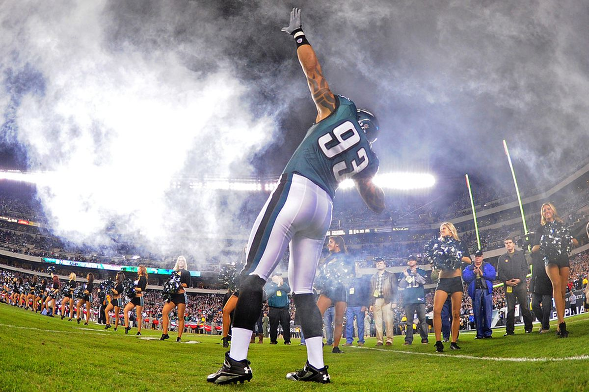 PHILADELPHIA, PA - NOVEMBER 7: Jason Babin #93 of the Philadelphia Eagles is introduced before the game against the Chicago Bears at Lincoln Financial Field on November 7, 2011 in Phildelphia, Pennsylvania. (Photo by Scott Cunningham/Getty Images)