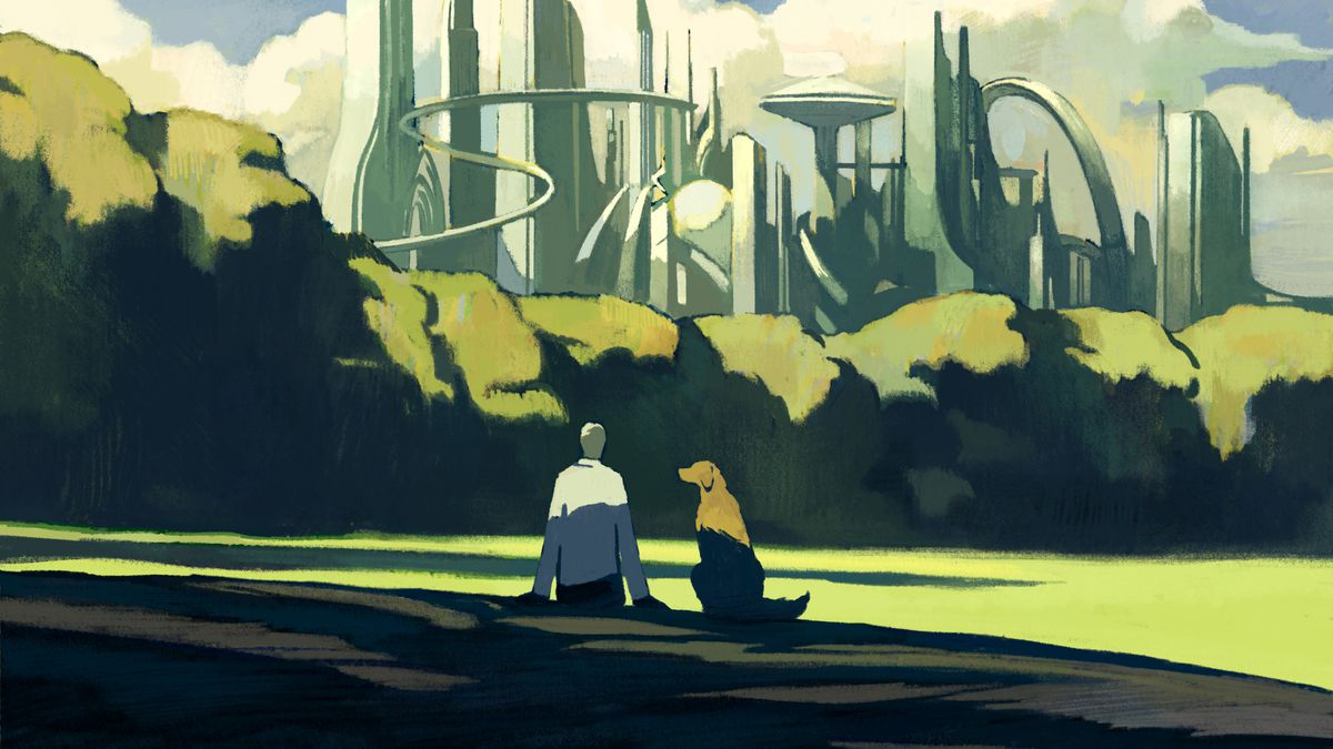 Man and dog sitting on a green and verdant lawn look at futuristic city in the distance