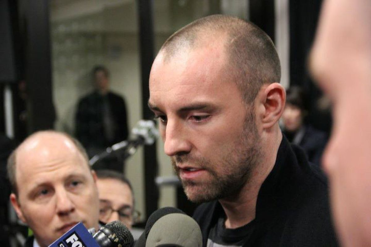 Kris Boyd answers reporters' questions after his official introduction as a Portland Timbers player. Photo taken by William Conwell