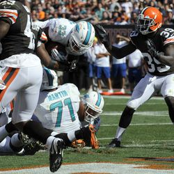 Sep 8, 2013; Cleveland, OH, USA; Miami Dolphins running back Daniel Thomas (33) scores on a one-yard run against the Cleveland Browns during the fourth quarter at FirstEnergy Stadium.