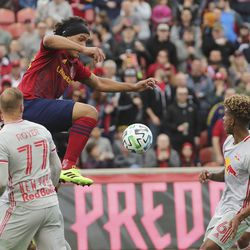 Real Salt Lake defender Marcelo Silva (30) shoots against the New York City Red Bulls in Sandy on Saturday, March 7, 2020. RSL tied with New York 1-1.