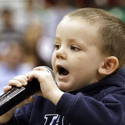 Croydon Dyson, 3, belts out the national anthem in hopes of getting to sing at a Utah Jazz game.