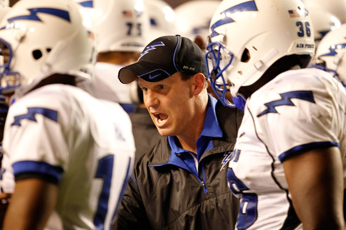 FORT WORTH TX - OCTOBER 23:  Head coach Troy Calhoun of the Air Force Falcons leads his team on the field against the TCU Horned Frogs at Amon G. Carter Stadium on October 23 2010 in Fort Worth Texas.  (Photo by Tom Pennington/Getty Images)