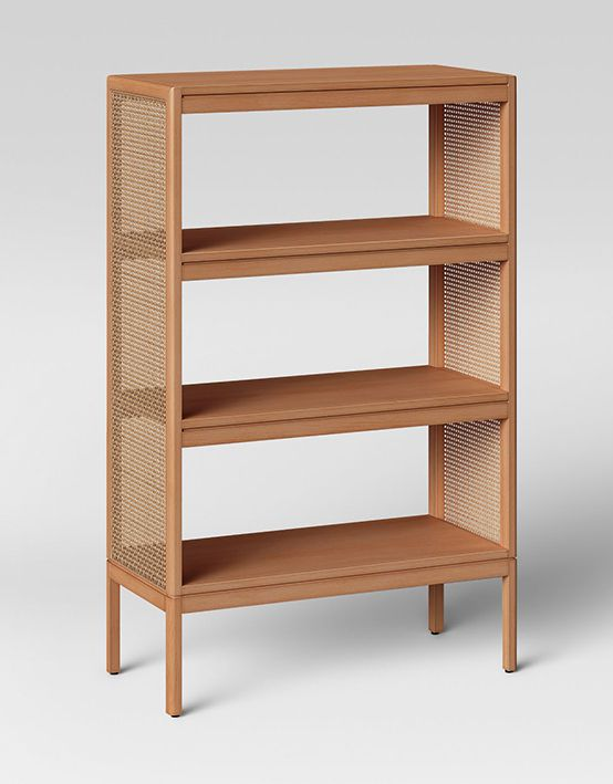 A three-tiered brown bookshelf with mesh sides against a white background.