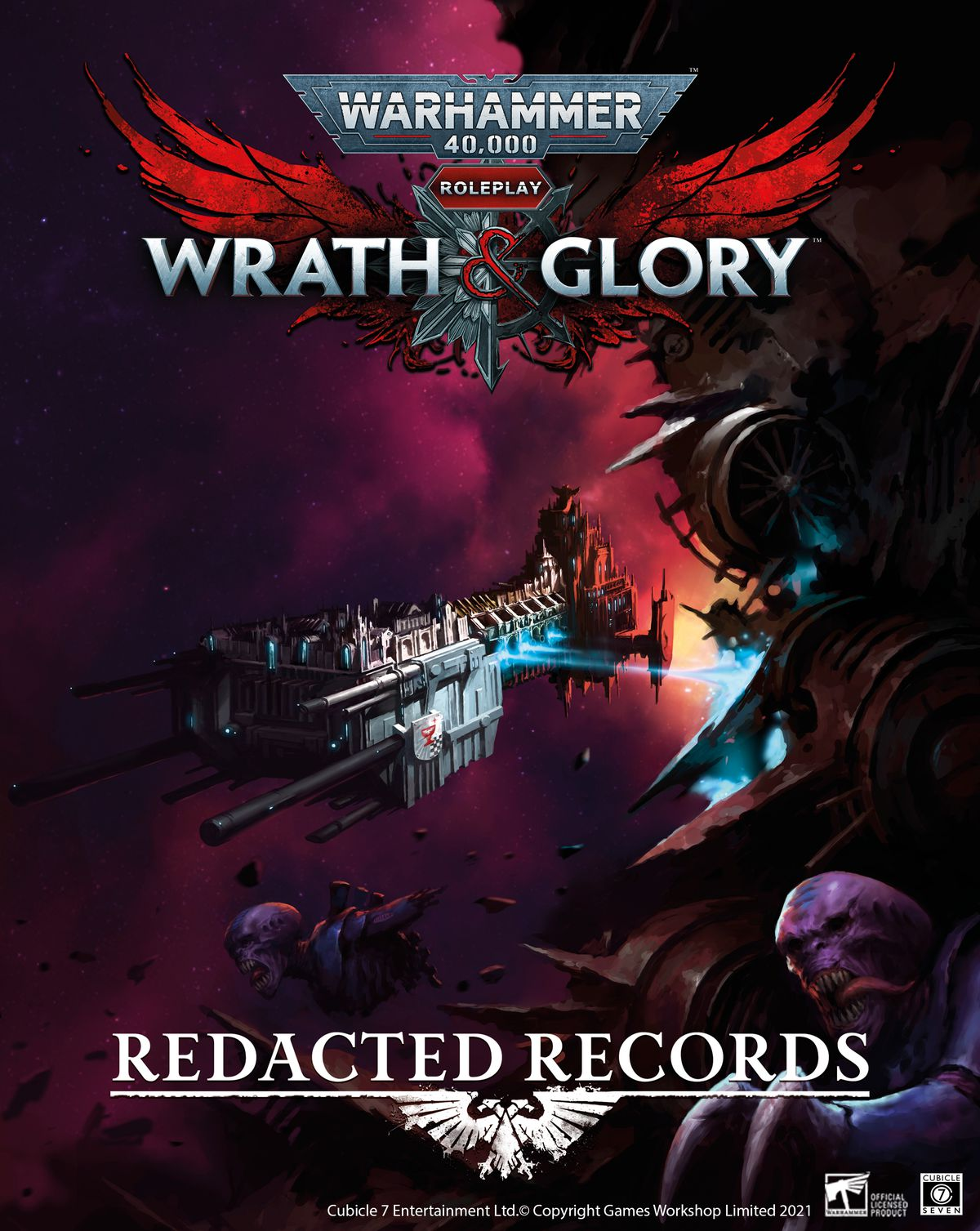 Cover art for Redacted Records Volume 1 shows a ship of the Inquisition hammering a space hulk with fire.