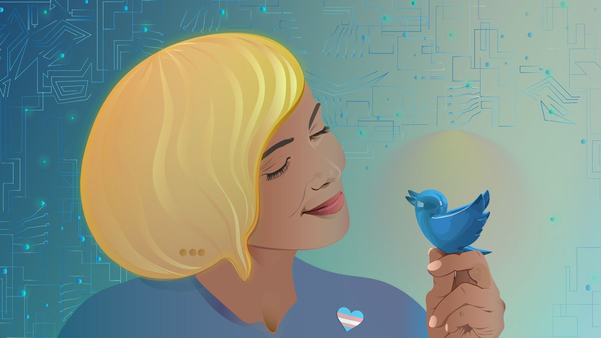 A drawing of a smiling person holding up and gazing toward a small blue bird that represents Twitter.