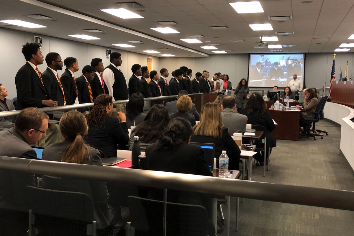 Urban Prep students attended the Chicago Board of Education meeting on Wednesday Jan. 22, 2020, to speak in support of their school.