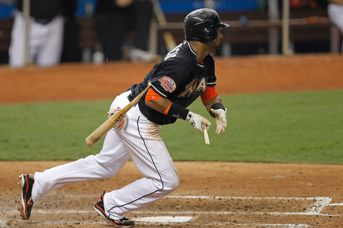 MIAMI, FL - MAY 14: Emilio Bonifacio #1 of the Miami Marlins breaks his bat during a game against the Pittsburgh Pirates at Marlins Park on May 14, 2012 in Miami, Florida. The Pirates defeated the Marlins 3-2. (Photo by Sarah Glenn/Getty Images)