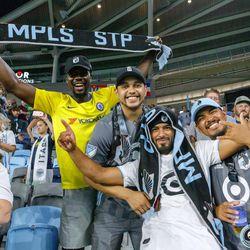 August 14, 2019 - Saint Paul, Minnesota, United States - Fans celebrate as Minnesota United defeated the Colorado Rapids 1-0 at Allianz Field.