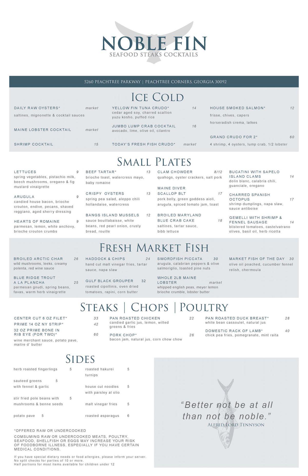 Noble Fin menu