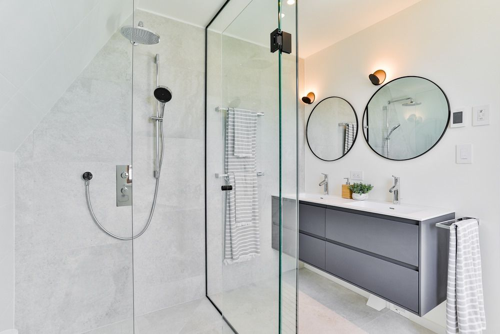 Bathroom featuring modern fixtures.