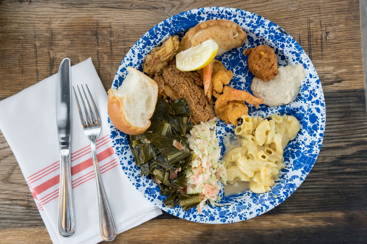 A plate of food from Texas Foodways's 2018 symposium
