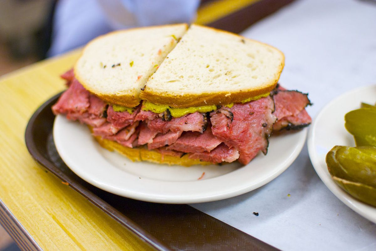 """Pastrami with Mustard on Rye from Katz's Delicatessen by <a href=""""http://www.flickr.com/photos/gourmetgourmand/8124898085/in/pool-eater"""">gourmetgourmand</a>"""