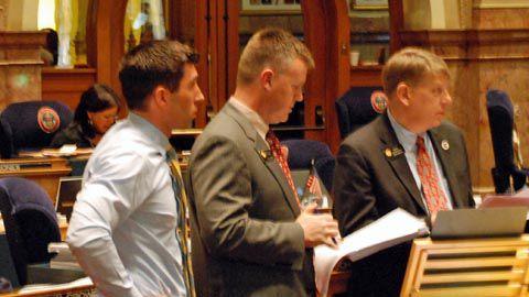 Republican Sens. Owen Hill, Scott Renfroe and Mark Scheffel (L-R) led the attack on SB 13-213.